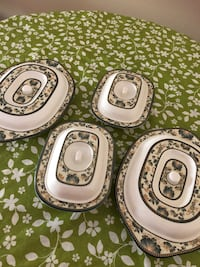 Four white-and-brown ceramic plates Mississauga, L5C 3K5