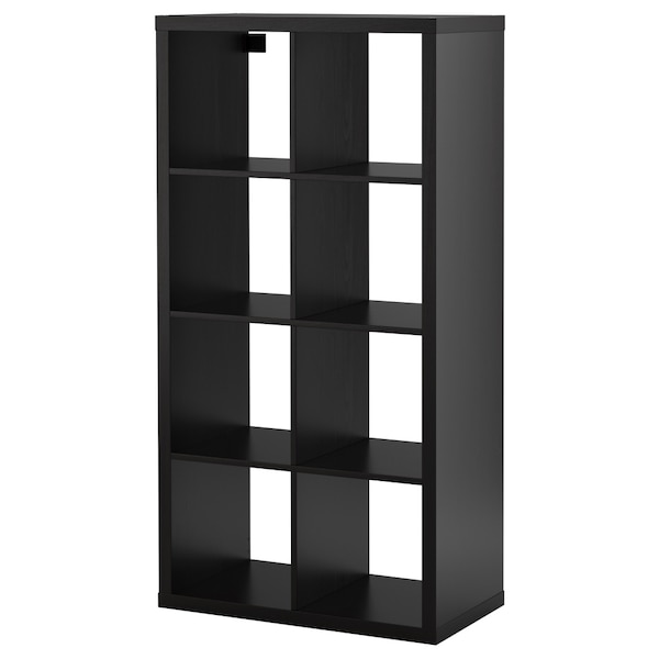 Black wooden cubby shelves plus matching end table