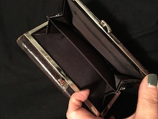 Brown leather trifold long wallet