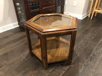 Classic solid hexagon wood side table with glass top Philadelphia, 19106