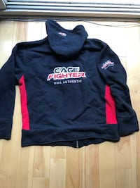 NEW CAGE FIGHTER UFC MMA BLACK HOODIE WITH RED SIZE LARGE Montréal, H2X 2K3