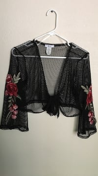 Black and red floral mesh crop top Peoria, 85381