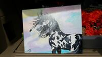white and black horse painting
