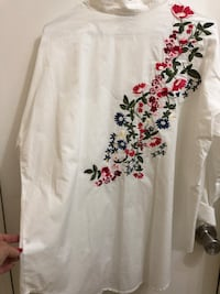 WHITE LADIES Sz L Blouse, Floral back embroidered Toronto, M8W 3P2
