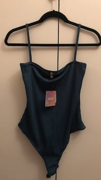 Brand New Missguided Teal Bodysuit Top- size 8 US