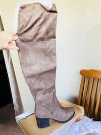 pair of gray suede knee-high boots Fremont, 94536