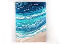 Painting on Canvas, Abstract Ocean Beach