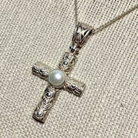 Antique Sterling Silver Pearl Cross with Sterling Chain Ashburn