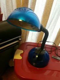 black and blue study lamp