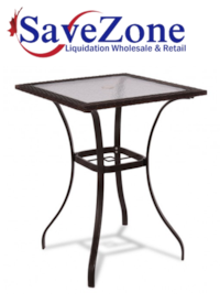 New- Outdoor Patio Rattan Square Table with Glass