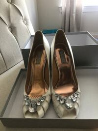 Pair of white satin peep-toe heeled shoes, worn once. Great wedding shoes.  Nutley, 07110