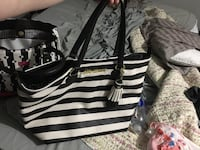 black and white leather tote bag