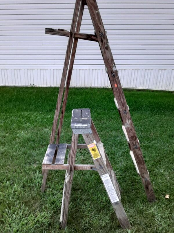 Two Wooden Vintage Ladders 5947980d-a2d8-4d47-a267-795f852cc047