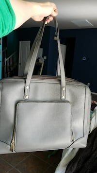 gray leather 2-way handbag