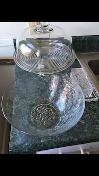 Glass cake stand butter dish and bowl
