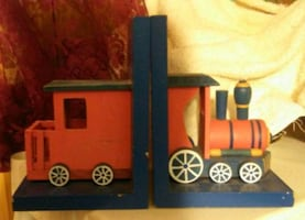 XMAS PRICE DROP Vintage Handmade Wooden Train Bookends