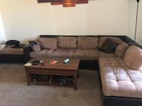 Brown suede sectional couch with ottoman Las Vegas, 89147
