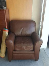 brown leather sofa chair with ottoman Calgary, T3N 0V3