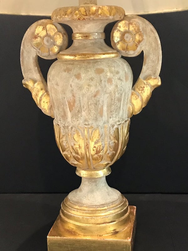 Pair of Vintage Italian Urn Table Lamps with 22kt. Rosettes! 75511c34-4947-4f7a-852f-cecf07fe0994