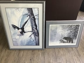 Framed picture eagle and bears