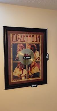 Giant sized framed Led Zeppelin memorabilia poster and vinyl record Caledon, L7C 4A6
