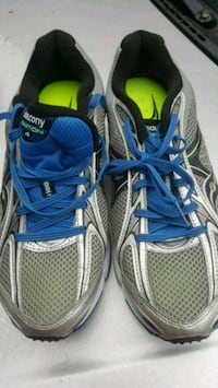 pair of gray-and-blue Adidas running shoes Vaughan, L6A 0P5