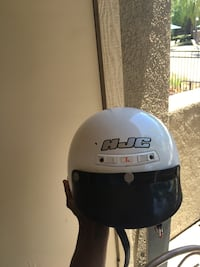 white and black HJC half-face helmet Riverside, 92505