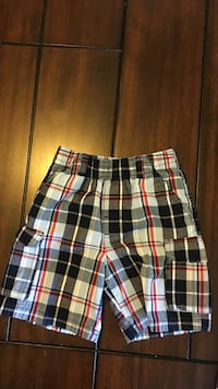 White, black, and red plaid shorts boys 3T