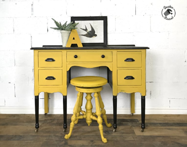 Antique Desk and Swivel Stool 0
