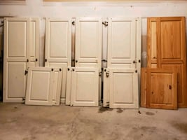 Solid wood cabinet doors with hardware