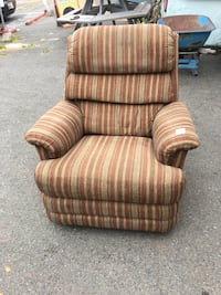 brown and white striped sofa chair Duncan, V9L