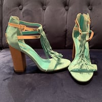 Turquoise Heels with Suede Fringe Detail Toronto, M5T 1X4