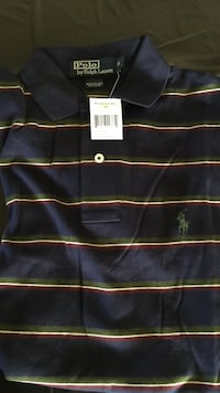 black and gray stripe Polo by Ralph Lauren polo shirt (S)