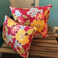 "Colorful floral throw pillow pair red, blue, green, golden yellow - washable, made in u.s.a. 18"" Woodbridge, 22191"