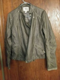 gray leather zip-up jacket Ambridge, 15003