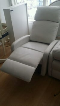 Two lether single white couches  536 km