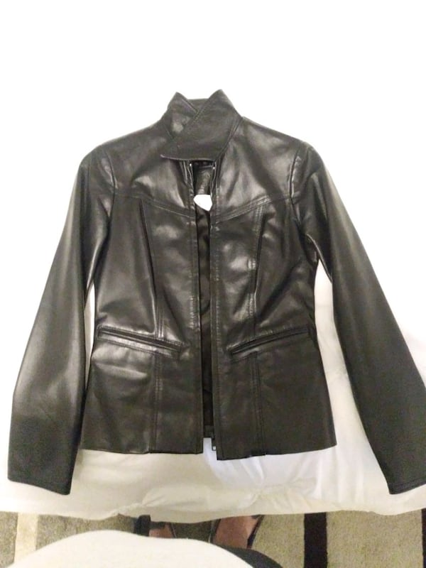 Size 0 woman's leather jacket asking for 500 OBO 1d141b0a-11fc-4197-a3e3-73ca4c3e074a