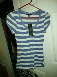 white and blue stripe scoop-neck t-shirt Warm Springs, 31830