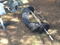 Gray and black barbell and dumbbells  weight bench  Olympic Bar and plates Schenectady, 12304