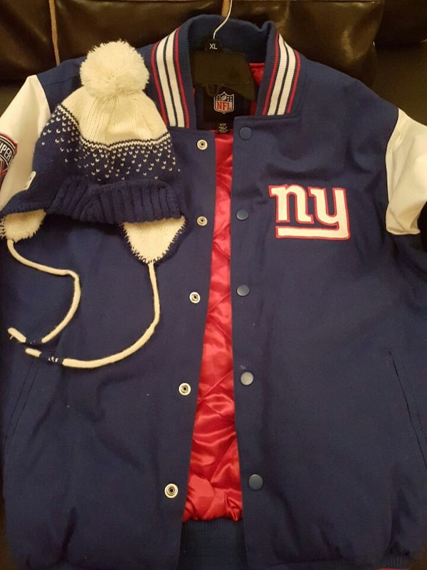 sale retailer a72cd baf15 blue new york giants nfl letterman jacket with bobble hat