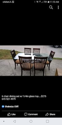 Glass Dinning room table set with chairs