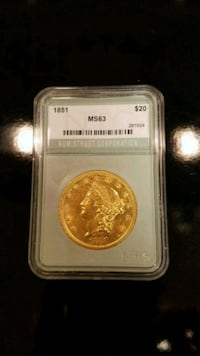 1851 $20 gold piece. Rockville, 20850