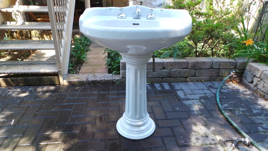 Vintage Colonial Style Sanitana Pedestal Sink With Faucet