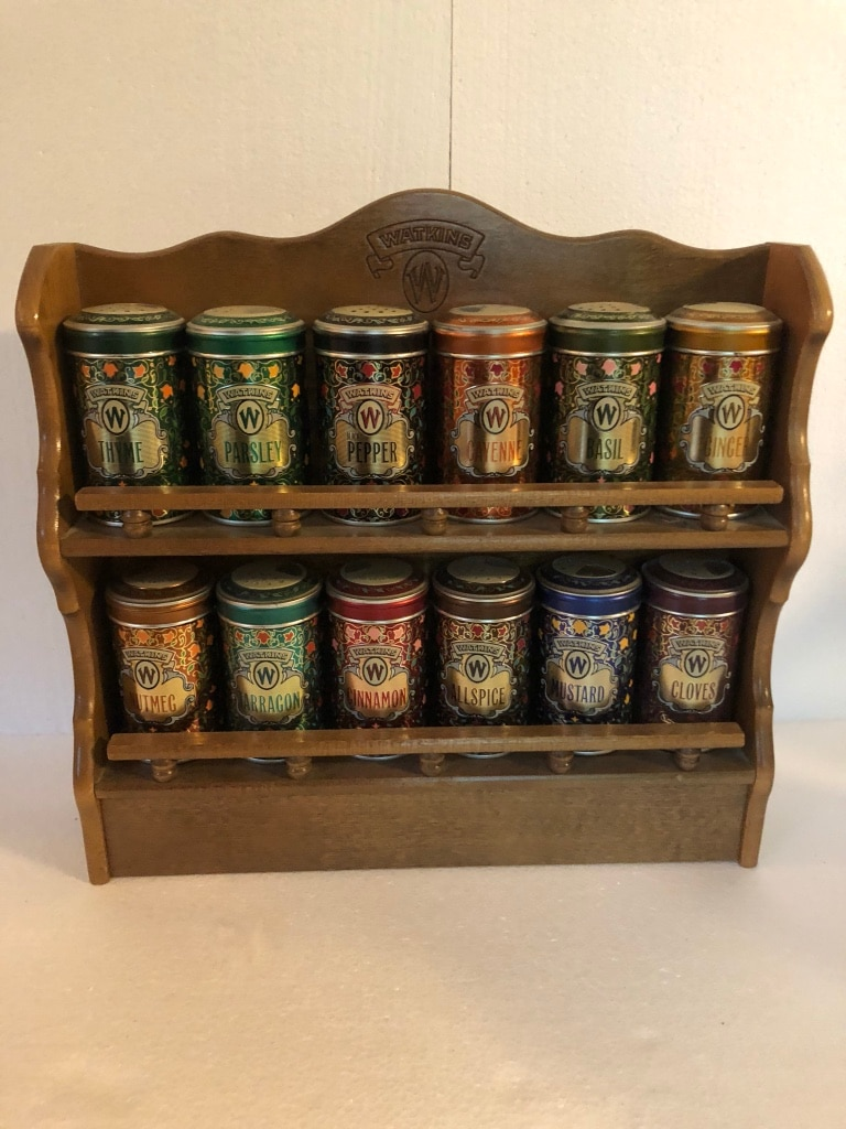 Photo '87 Ltd Ed Wooden Watkins Spice Rack w/ 12 Collectors Spice Tins