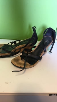 pair of black leather open-toe ankle strap heels Pickering, L1V