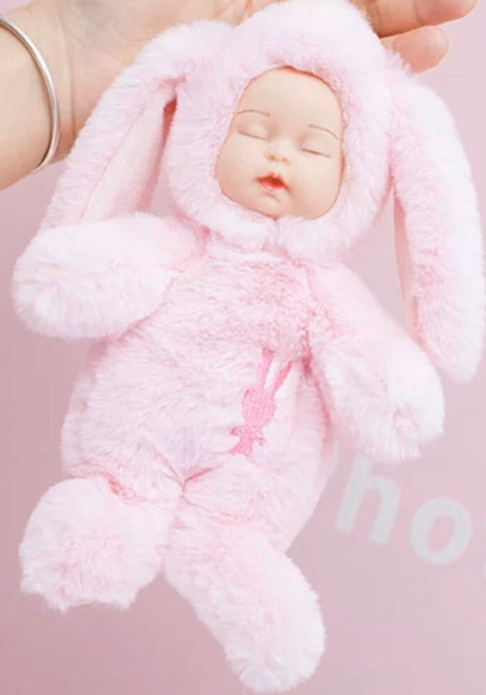 Photo EASTER BASKET BUNNY PINK or SOFT BLUE BABY GIRL DOLL GIFT