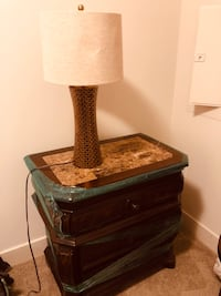 brown wooden base with brown lampshade table lamp Linthicum Heights, 21090
