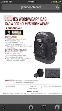 Holmes workwear backpack Mississauga