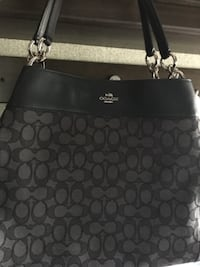 black and gray Coach leather purse Katy