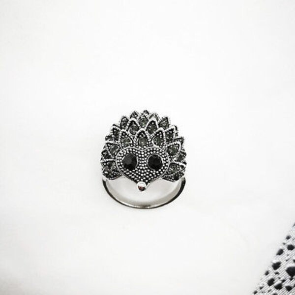 NEW Size 8/9 Hedgehog Boho Cute Ring With Gift Pouch!